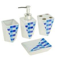 Набор для ванной плитка 4 предмета (мыльница. дозатор для мыла, 2 стакана)