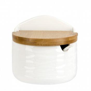 Банка для соли+ложка (с бамбуковой крышкой) naturel 12*10*11см. v=300мл. (