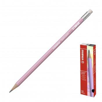 Карандаш ч/г stabilo swano pastel с ластиком, корп. розовый 4908/05-hb