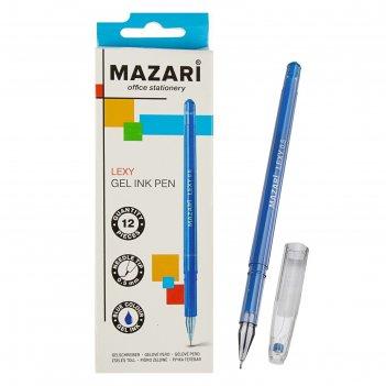 Ручка гелевая lexy, узел 0.5мм, синяя, игольчатый пишущий узел в форме кри