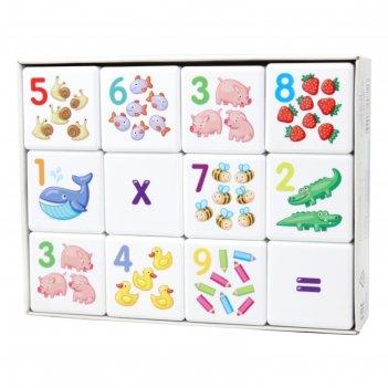 Кубики 12 шт кубики для умников. арифметика 00711