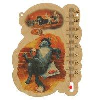 Деревянный термометр банный котик с уф печатью,