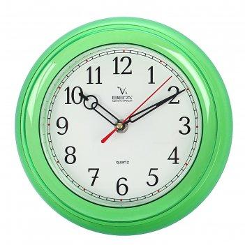 Часы настенные классические, круглые мини, зеленые