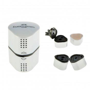 Точилка 3 отверстия с контейнером faber-castell trio grip 2001 для стандар