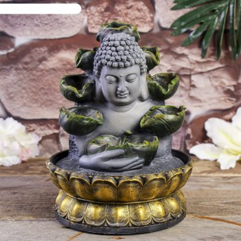 Фонтан настольный полистоун от сети будда с кувшинками 26,5х20,5х20,5 см