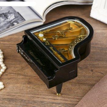 Шкатулка пластик музыкальная механическая рояль микс ручной завод 8х15,5х1
