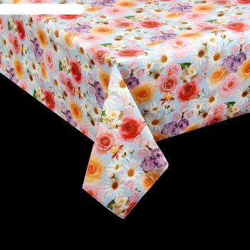 Клеенка столовая на ткани цветочная поляна, рулон 25 м