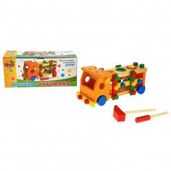 Стучалка-конструктор 2 в 1 машинка, 3 шарика, молоток, отвертка