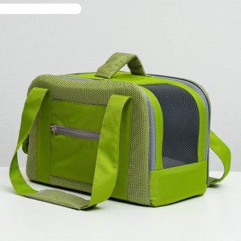 Сумка-переноска с карманом и креплением на чемодан, 40 х 20 х 25 см, зелён