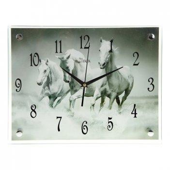 Часы настенные квадратные кони, 30х40 см