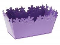 Кашпо оцинкованное цветочный край 9*17,5 см, фиолетовое