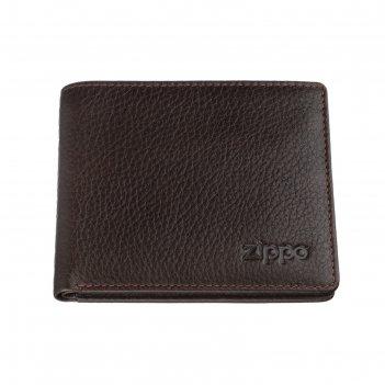 Портмоне zippo, коричневый, натуральная кожа, 10,8x1,8x8,6 см