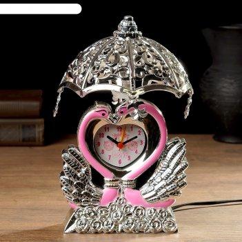 Часы будильник лебедь с светильником, 13х13х23 см , микс