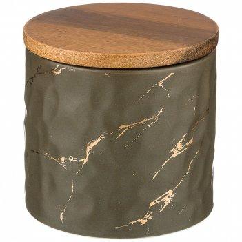 Банка для сыпучих продуктов коллекция золотой мрамор цвет:gray 11,5*11 см