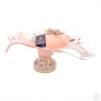 Фруктовница white cristal розовый кварц
