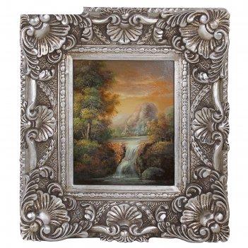 Картина лесной водопад