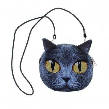 Мягкая сумочка на веревочке киса серая с большими желтыми глазами