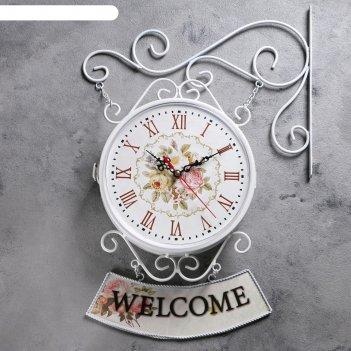 Часы настенные двойные, серия: садовые, welcome, белые, d=23 см, 47х31 см