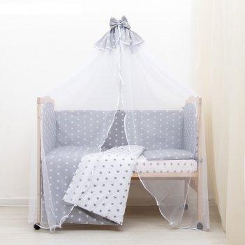 Комплект в кроватку 7 пр. мечта (борт из 4-х частей), цвет серый, бязь хл1