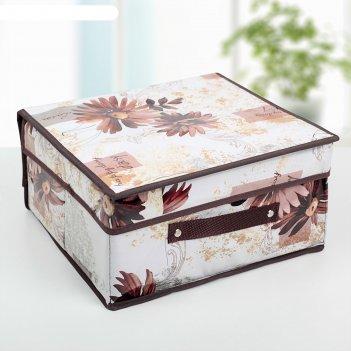 Короб для хранения с крышкой 30x28x15 см астра, цвет коричневый