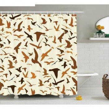 Фотоштора для ванной magic lady летящие птицы, 180х200 см, п/э 100%