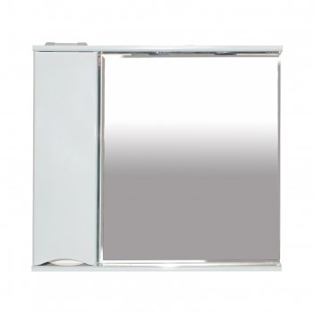 Шкаф-зеркало элвис - 85 левое (свет) белая эмаль