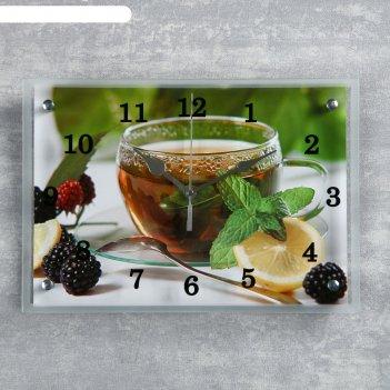 Часы настенные прямоугольные чай с лимоном и ежевикой, 25х35 см