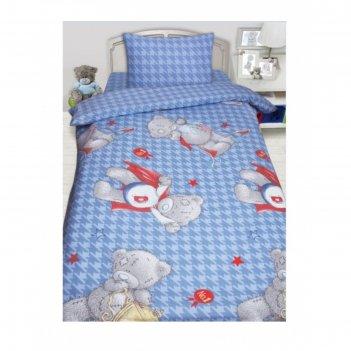 Кпб teddy, размер 150х215 см, 145х210 см, 50х70 см-1 шт., голубой, бязь