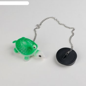 Пробка для ванны с игрушкой черепаха, d=4,8 см, цепочка 40 см