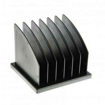 Сортер - подставка для журналов и бумаг, сборная, 6 отделений, чёрная