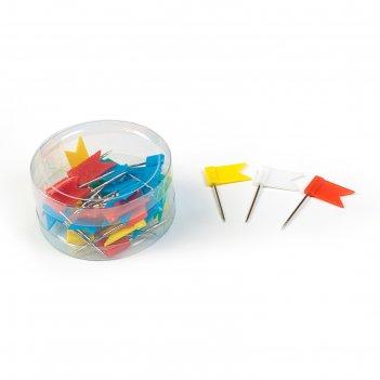 Набор кнопок, «флажки», цветные, в пластиковой упаковке
