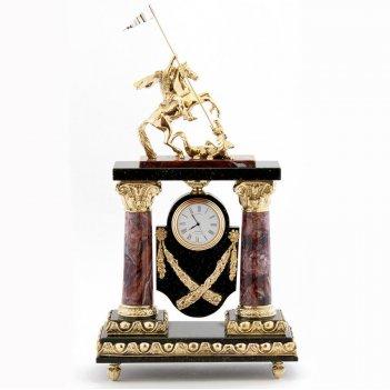 Каминные часы георгий победоносец камень креноид, змеевик
