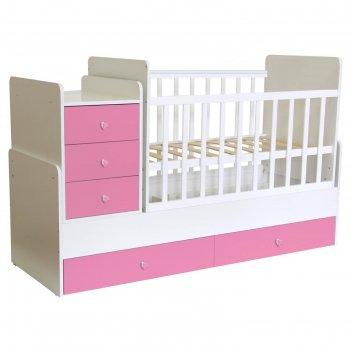 Кроватка-трансформер polini kids simple 1111 с комодом, цвет белый/роза
