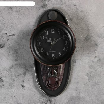 Часы настенные, серия: маятник, цецелия, 17.5х35 см, коричневые
