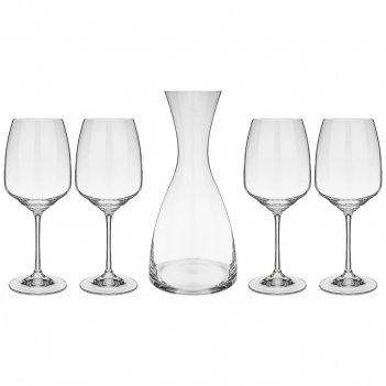 Набор декантер и 4 бокала для вина giselle 1200/455 мл высота 28/22 см