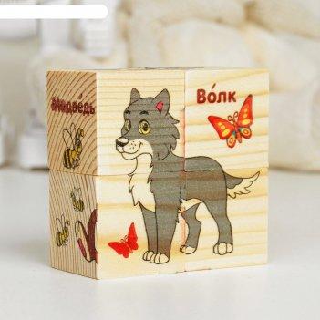 Кубики деревянные лесные животные, набор 4 шт.
