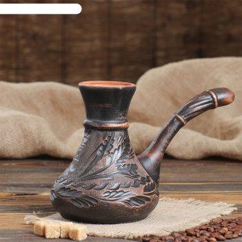 Турка для кофе узор красная глина  микс 0,65 л