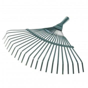 Грабли веерные, 22 зуба, диаметр 25 мм, рабочая часть 37 см металл, зелены