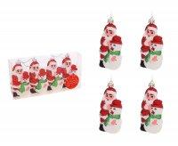 Ёлочные игрушки дед мороз и снеговик (набор 4 шт.)