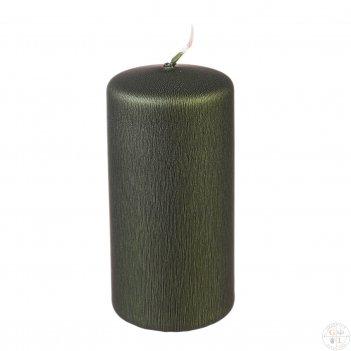 Свеча классическая 12/5,8 см (металлик оливковый)