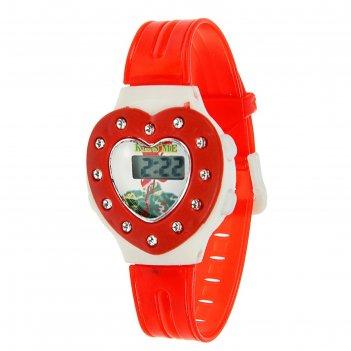 Часы наручные детские сердечко, электронные, с силиконовым ремешком, микс