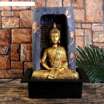 Фонтан настольный от сети, подсветка будда у водопада в скале 42х30,5х22,5