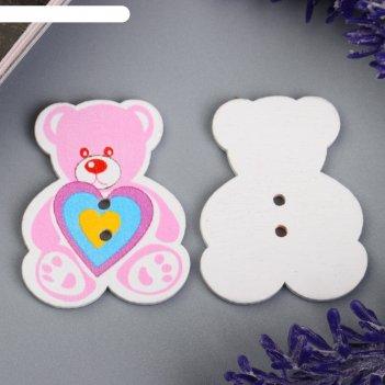 Набор пуговиц декоративных дерево медвежонок (набор 8 шт) 3х4 см
