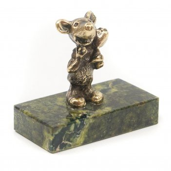 Статуэтка мышонок с цветком змеевик бронза 40х25х45 мм
