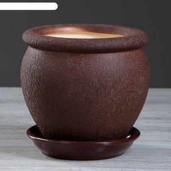 Горшок для цветов вьетнам шёлк, шоколадный цвет, 1,5 л