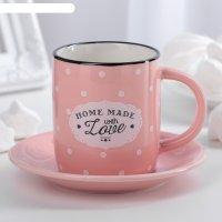 Кофейная пара уютный дом чашка 180 мл, 9,5х6,5х7,5 см, блюдце 12,5х1,5 см,