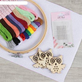 Набор для вышивания №2.2 26пр (мулине 20шт/пяльца/канва/иглы 6шт/шпульки 3