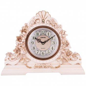 Часы настольные кварцевые цветы белые с золотом 45,5*13*34 см. диаметр циф