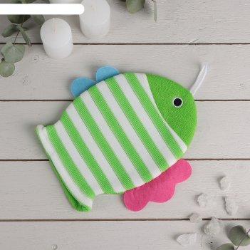 Мочалка варежка детская 19x21 см рыбка, полосатая, цвет микс
