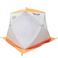 Палатка призма 200 (2-сл) с 2 входами, люкс композит, бело-оранжевая